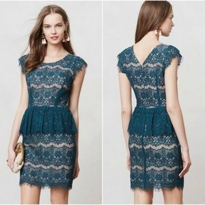Anthropologie Maeve Elsa Blue Lace Peplum Dress XS